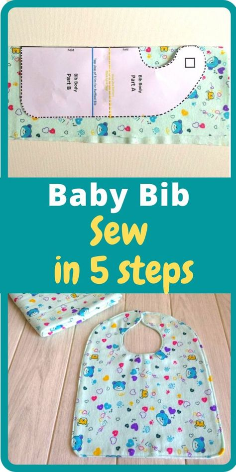 Learn how to sew these cute bibs in minutes with this easy DIY bib sewing tutorial. This sewing pattern comes with bow and ties options for girls and ruffle and collar options for girls. Baby Sewing Tutorials, Sewing Projects For Beginners, Sewing Hacks, Sewing Tips, Beginner Sewing Patterns, Baby Diy Projects, Sewing Patterns For Kids, Sewing Ideas, Bag Sewing