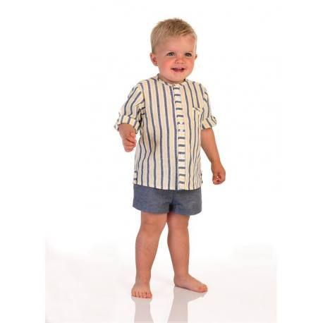 Conjunto Nino Rayas Amarillo Y Azul Jose Varon Marcas De Ropa Infantil Moda Infantil Y Moda Para Ninas