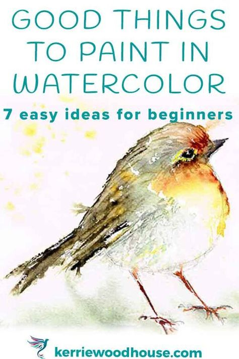 Easy Watercolor Ideas for Beginners (7 good things to paint) — Kerrie Woodhouse Watercolor Beginner, Watercolor Paintings For Beginners, Watercolor Pictures, Watercolor Projects, Watercolor Tips, Watercolour Tutorials, Watercolor Techniques, Easy Paintings, Watercolor Landscape