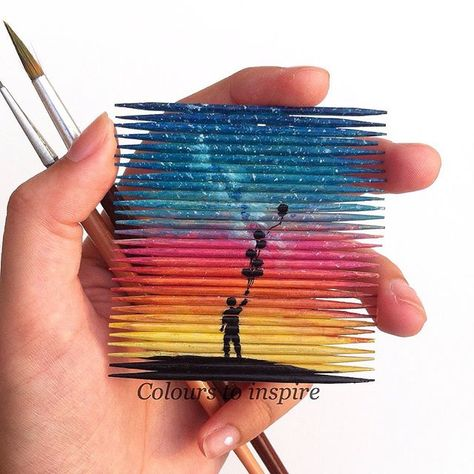 Let it go..... Painting on tooth picks. This shillouette is inspired by @daviderdelyi . Hope you guys like it.  I want to thank all of you who take time to like and comment. It really means a lot to me that you all stayed with me for so much time & if your someone who is new I welcome you. Hope that you all have a great day.