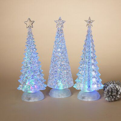 The Holiday Aisle 3 Piece Battery Lighted Tree And Branch Set Water Globes Christmas Tree Set Battery Lights