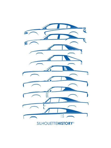 Muscle Charlie SilhouetteHistory Silhouettes of the Dodge Charger - reverse chronological order
