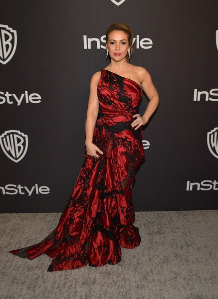 Alyssa Milano attends the 2019 InStyle and Warner Bros. 76th Annual Golden Globe Awards Post-Party at The Beverly Hilton Hotel.