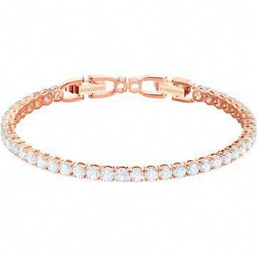 Tennis Bracelet White Rose Gold Tone Plated By Swarovski In 2020 Gold Bracelet Jewelry Bracelets Silver Silver Bracelets