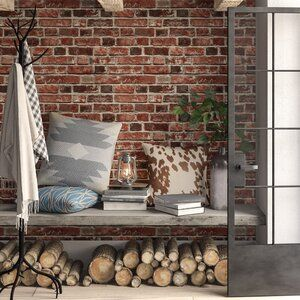 Bryanna Distressed 18 L X 20 5 W Peel And Stick Wallpaper Roll Brick Wallpaper Roll Wood Plank Wallpaper Peel And Stick Wallpaper