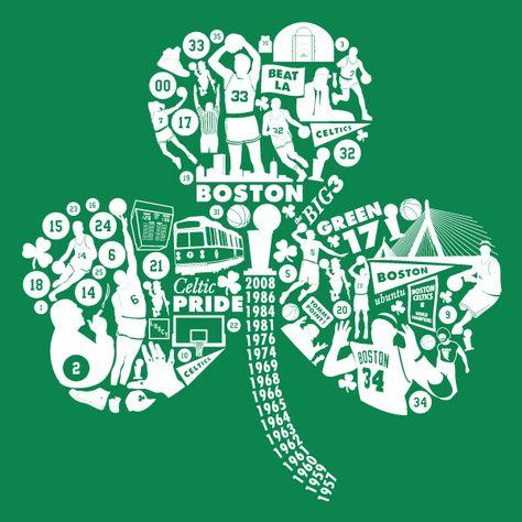 Celtics Clover tshirt by Michael Weinstein, via Behance- inspired by