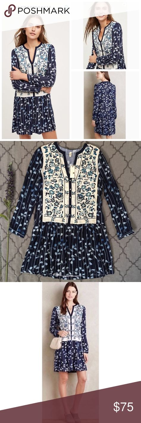 2f3a3316ce17 NWT Boho Floral Embroidered Semele Shirt Dress Such a fun, unique number!  NWT-