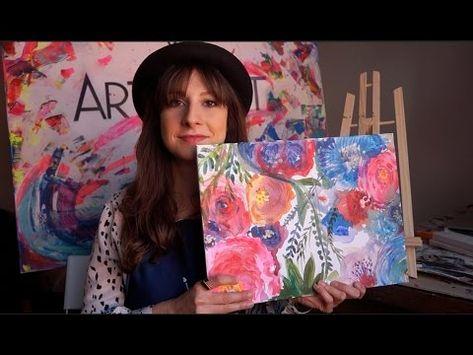 Blumenwiese Malen Mit Acryl Einfache Anleitung Acryl Leinwand