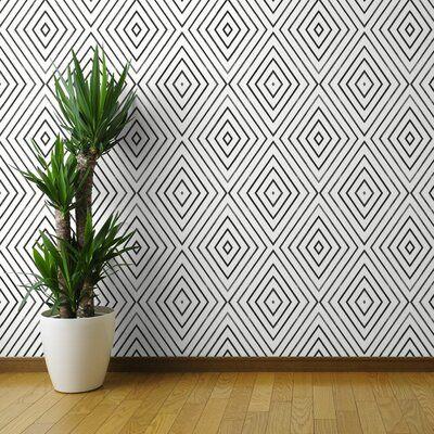 Wrought Studio Angelo 108 L X 24 W Geometric Removable Wallpaper Diamond Stripe Geo C Geometric Removable Wallpaper Peel And Stick Wallpaper Wallpaper Roll