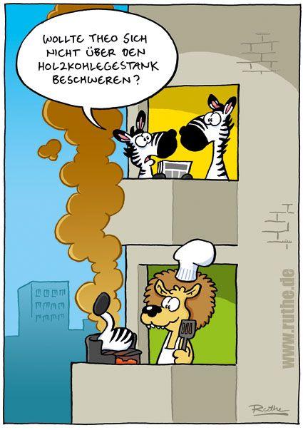 zebra löwe grill balkon hochhaus holzkohle rauch geruch theo