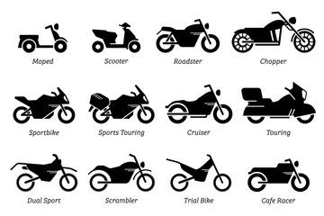 List Of Different Type Of Motorcycle Bike And Motorbike Icon Set