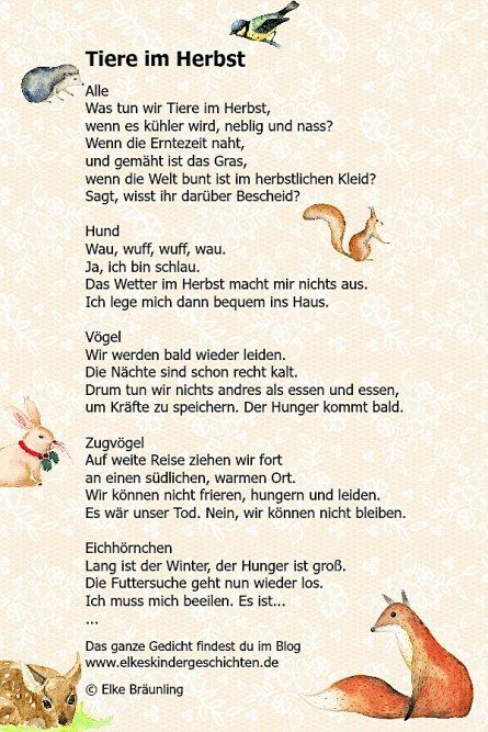 Tiere Im Herbst Gedicht Herbst Geschichten Für Kinder Und
