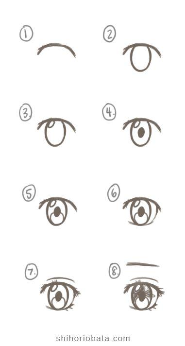 Cartoon Eyes Drawing, Drawing Anime Bodies, Anime Character Drawing, Girl Eyes Drawing, Easy Cartoon Drawings, Cartoon Drawing Tutorial, Eye Drawing Simple, Art Drawings Sketches Simple, Kawaii Drawings