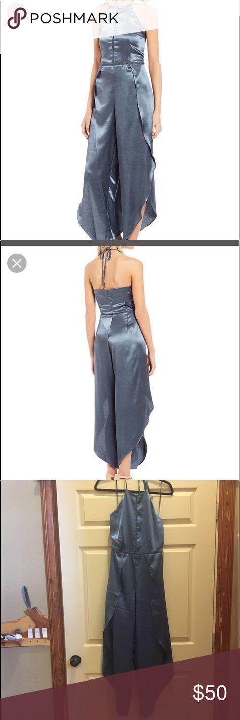 9702492aae3c Gianni Bini slate gray open leg jumpsuit Unique silky jumpsuit with open  legs. Flows beautifully