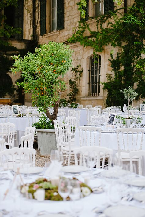 Sophisticated and summery. The orange tree looks great with the white reception chairs | @nicolaschauveau | Brides.com