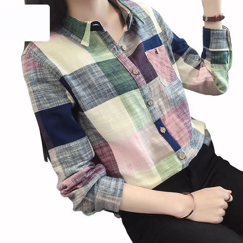 >> Click to Buy << Plaid Blouse Shirt Long Sleeve Women Autumn 2016 New Korean Style Cotton Linen Blouse Ladies Tops Casual Blouse S2835 #Affiliate