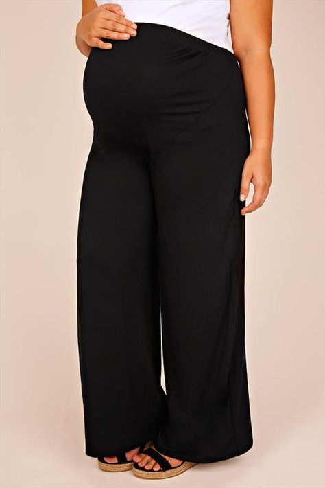 2b94b6062cb25 BUMP IT UP MATERNITY Black Palazzo Trousers With Comfort Panel Size ...