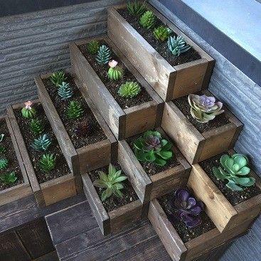 簡単に作れる階段プランター 積み木風で組み合わせ自由自在