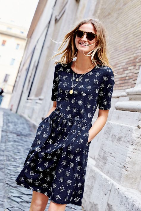 We're coming clean: we can't resist a dress with pockets. And that's just one reason to love this relaxed-fit style in soft cotton jersey. Whether you choose nautical stripes or a playful print, this dress is easy to love and even easier to wear.