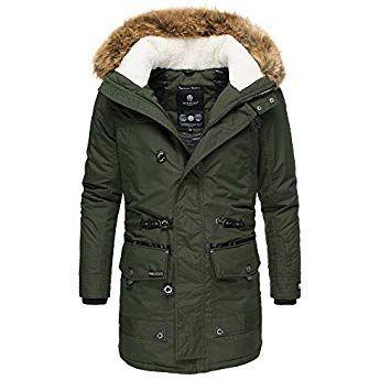Marikoo Herren Winter Jacke Parka Mantel Warm Lang Trendjacke Fellkragen Ans M31 Xl Grun Mit Bildern Herren Winter Jacken Parka Mantel