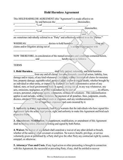 Hold Harmless Agreement Texas Best Liability Agreement