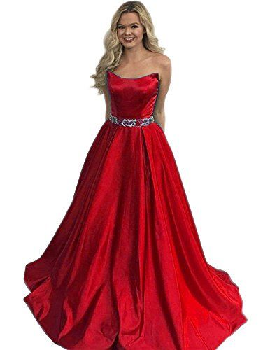 afdb84a6ce Dressylady 2018 Strapless Waist-Beaded Satin Long Prom Homecoming Dress  Evening Gown at Amazon Women s Clothing store