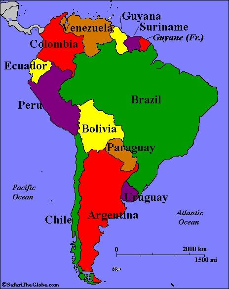 Map of South America and Their Capitals  Argentina Chile Peru