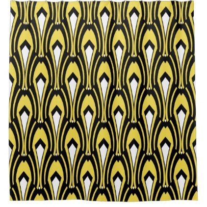 Art Deco Black And White On Custom Color Yellow Shower Curtain