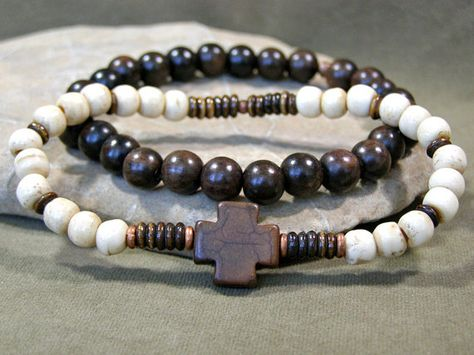 Mens Bracelet  Cross Bracelet  Beaded Bracelet by StoneWearDesigns