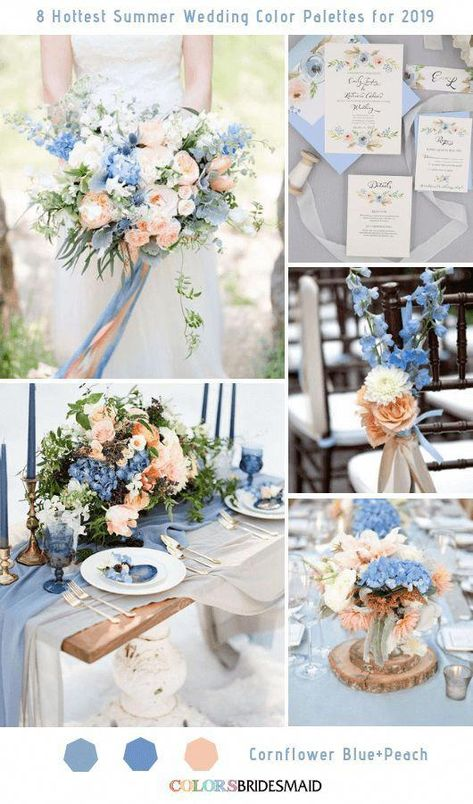 Cornflower Blue and Peach Wedding Color Ideas: White bride, Cornflower bridesmaid dresses, peach and blue wedding bouquets, Black groom and groomsmen suits, neutral table linens with peach and blue wedding centerpieces…