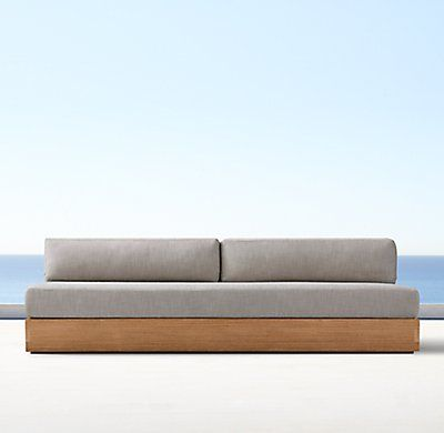 Marbella Teak Three Seat Armless Sofa Cushions Cushions On Sofa