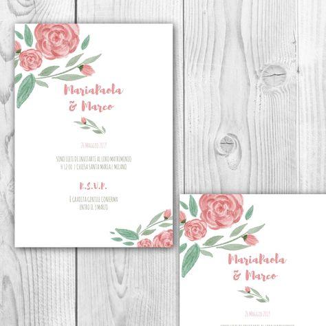 Stampa Partecipazioni Matrimonio Personalizzate.Inviti Floreali Rose Acquerello Nel 2020 Invito Floreale Rosa