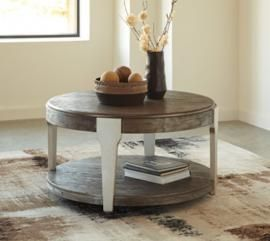 T453 8 Brenzington By Ashley Round Cocktail Table In Grayish Brown Silver Coffee Table Round Wood Coffee Table Round Cocktail Tables