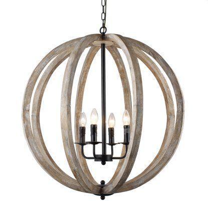 Y Decor Capoli Lz1174 4 Wooden Orb Chandelier Hayneedle Wooden