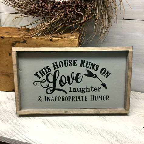Housewarming gift Home decor This house runs on Love Gift for new homeowner Friend Gift Mothers Day gift Rustic wood sign Sings Rustic Wood Signs Day Decor friend Gift Home homeowner House Housewarming Love Mothers Runs Rustic Sign Sings Wood Funny Wood Signs, Wood Signs Sayings, Diy Wood Signs, Rustic Wood Signs, Funny Kitchen Signs, Signs For Kitchen, Wooden Sign Quotes, Quotes For Signs, Painted Wood Signs