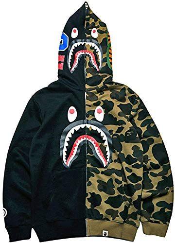 Chic Big Mouth Shark Ape Bape Camo Mens Women Hoodies Sweatershirt Casual Zip Up Hip Hop Funny Tops Hoodies Men Mens Sweatshirts Hoodie Hoodies Womens Fashion