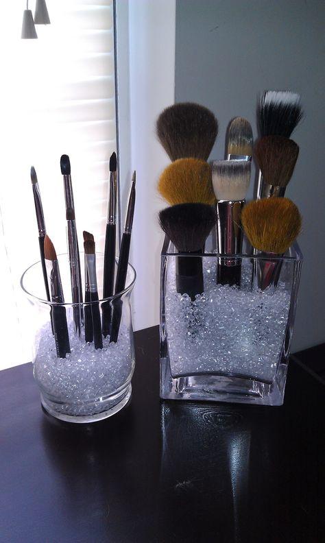 DIY makeup brush holder on bedroom vanity