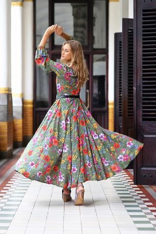 7028e1f1f41 The Gypsy Queen Maxi Dress - Khaki - Tulle and Batiste
