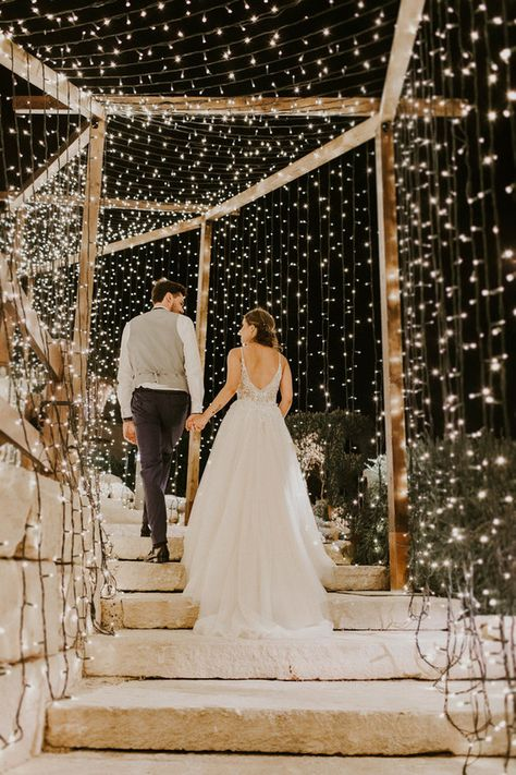 Green, gold, & blush Cyprus destination wedding with a tunnel of lights - 100 Layer Cake wedding lights Nighttime Wedding Photos Wedding Goals, Wedding Themes, Wedding Decorations, Rustic Wedding Theme, Greek Wedding Theme, Themed Weddings, Night Wedding Photos, Wedding Night, Outdoor Night Wedding