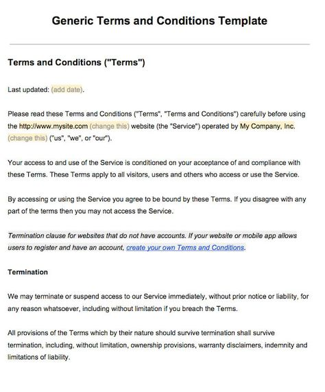 Sample Terms And Conditions Template Terms Of Service Templates