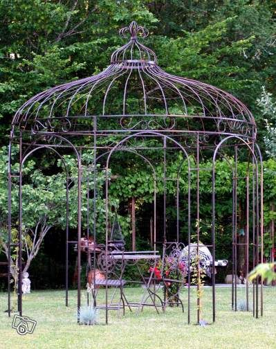 Gloriette - Kiosque de jardin - Fer forgé … | Garden Obelisk | Kiosq…