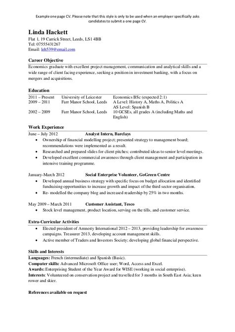 Find Answers Here For One Page Resume Examples Resume Example - sample one page resume
