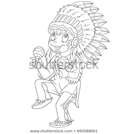 Coloring Page Of Cartoon Native American Indian Chief Coloring