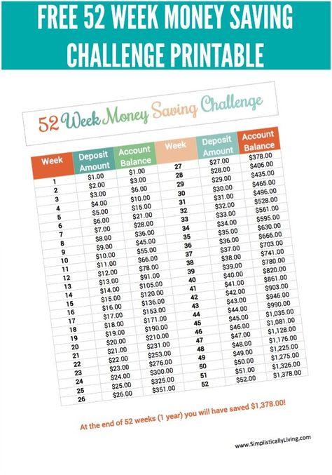 Free 52 Week Money Saving Challenge Printable