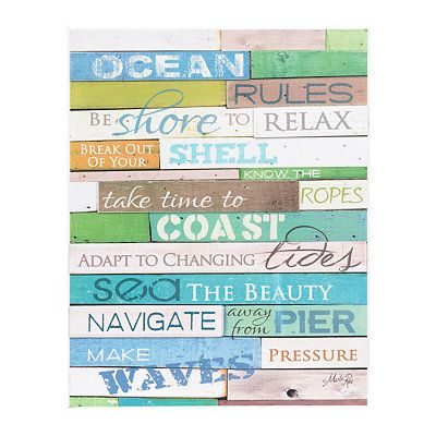 Beach Art Coastal Decor Kirklands Wooden Pallet Signs Poster Frame Beach Signs
