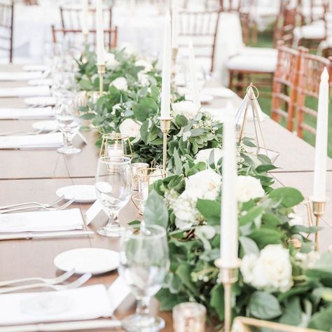 """Designers Touch Florals (@designers_touch) posted on Instagram: """"Touches of gold with a classic greenery and floral runner are perfect for a summer wedding! #headtable #greenerygarland #summerwedding…"""" • Jul 11, 2020 at 4:53pm UTC"""