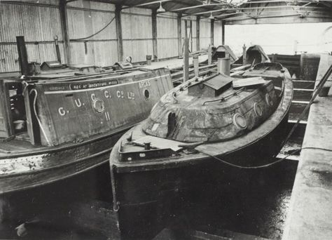 """Caption: """" Grand Union Canal Carrying Company butty 'Arcas' at Bulls Bridge""""  BW192-3-1-13-6 #London #canal #Boat"""