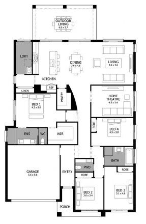 Atrium Single Storey House Design With 4 Bedrooms Mojo Homes Single Story House Floor Plans My House Plans Simple House Design