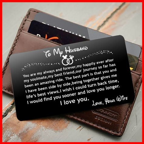 ENGRAVED BLACK WALLET INSERT CARD- TO MY HUSBAND, I LOVE YOU-V5403