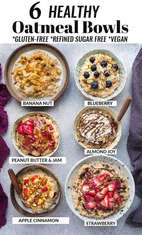Healthy Oatmeal Bowls - 6 Easy Ways – How to Cook the Perfect Bowl of Old Fashioned Rolled Oats with Six Quick & Simple Oatmeal Recipes. A healthy make ahead breakfast for cooler fall / winter mornings with creamy results every time. Best of all, gluten free, refined sugar free & includes stovetop and Instant Pot pressure cooker instructions. Banana Nut, Blueberry, Peanut Butter & Jam, Almond Joy, Apple Cinnamon & Strawberry. #glutenfree #oatmeal #oats #breakfast #instantpot #backtoschool